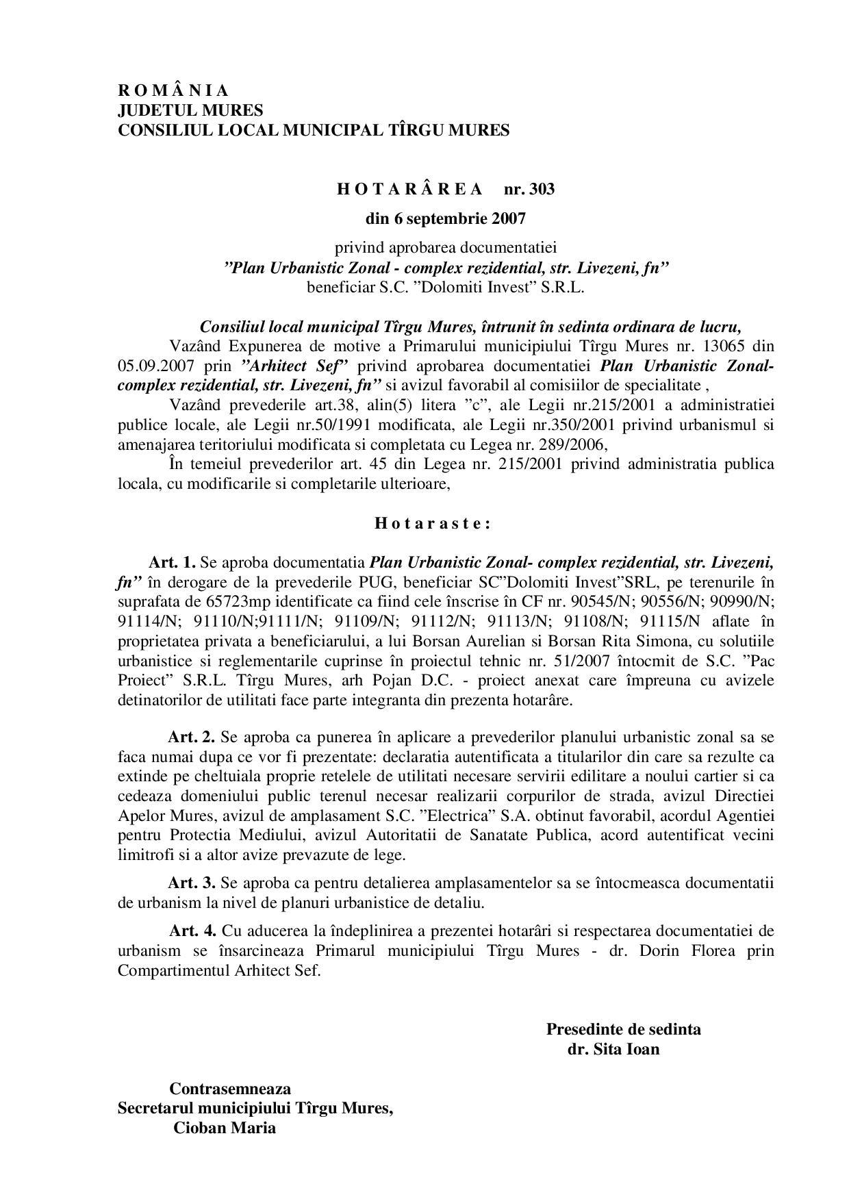 probarea PUG-ului din 2002, prin HCL nr. 303 din 6 septembrie 2007